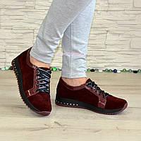 Женские замшевые туфли бордового цвета, декорированы кожаными вставками, фото 1