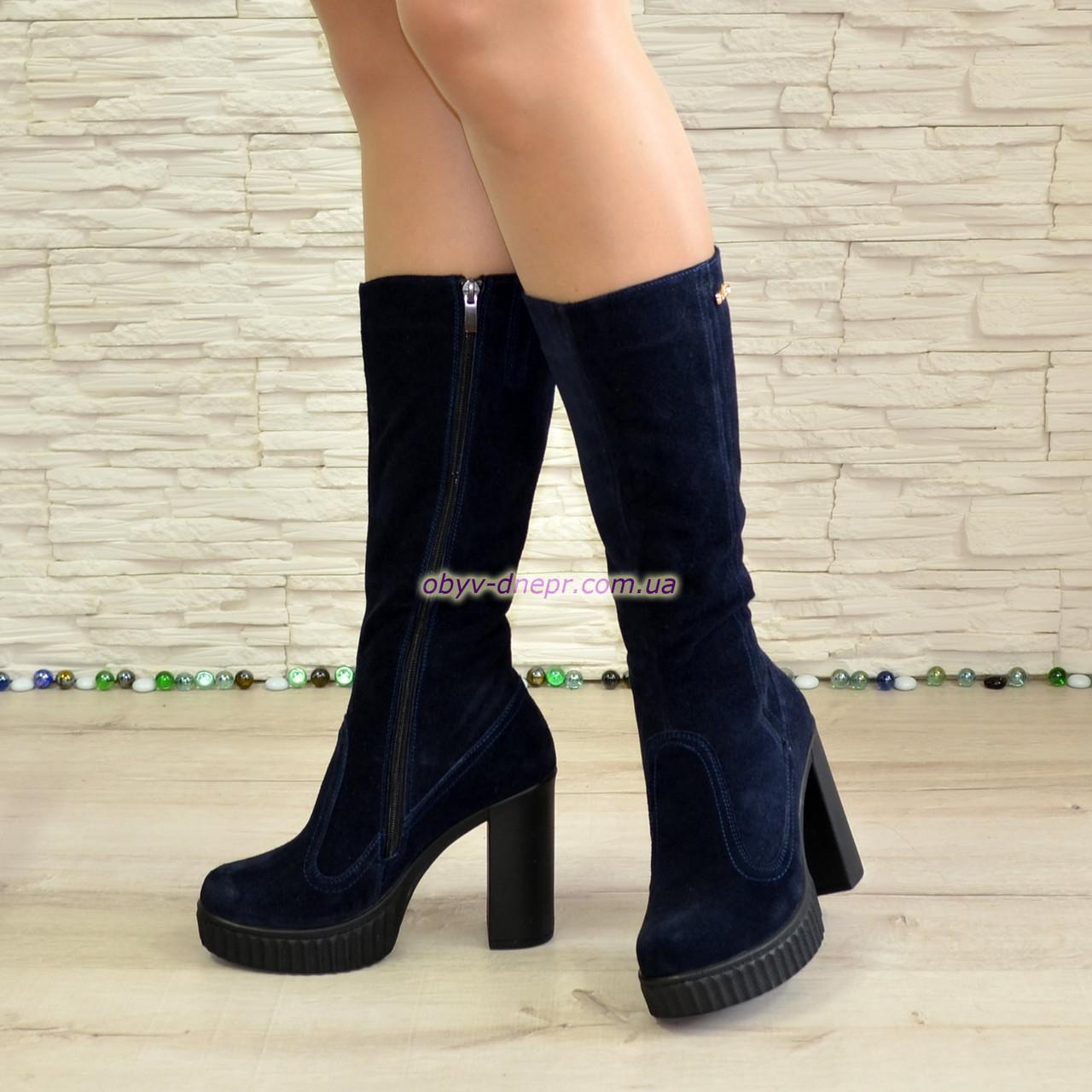 ... Сапоги зимние замшевые женские на высоком каблуке bf26e16b1f20b