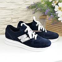Кроссовки женские замшевые на шнуровке, цвет синий, фото 1