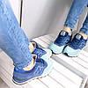 Кроссовки женские New Balance 574 цвет синий материал замша (реплика), фото 5