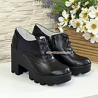 Туфли женские кожаные на шнуровке, высокий каблук, цвет черный, фото 1