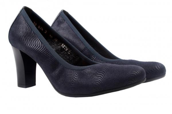 Туфли женские на каблуке из натурального нубука, синие Bioecco Польша
