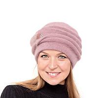 Женская шапка Yuan Meng украшена натур.норкой цвет увядшей розы , фото 1