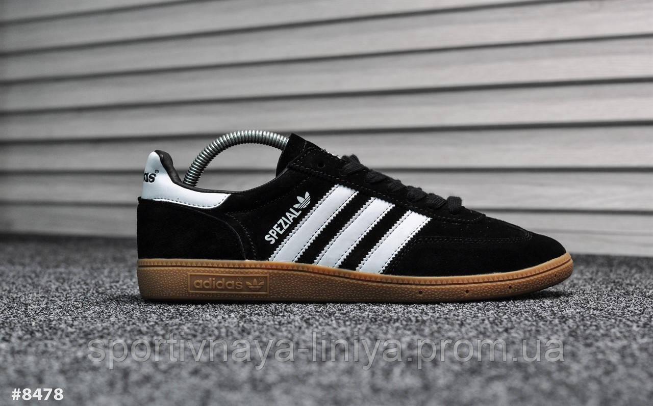 Кроссовки мужские черные Adidas Spezial Black White (реплика)