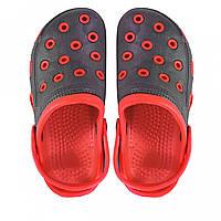 Кроксы детские черные с красным.