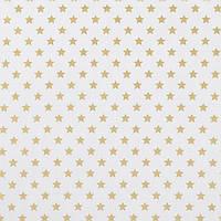 Хлопковая ткань Золотые звездочки на белом