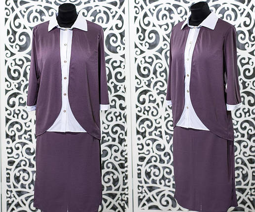 """Красивый женский костюм-двойка с юбкой """"Креп-Дайвинг"""" 48, 50, 52 размер батал 48, фото 2"""