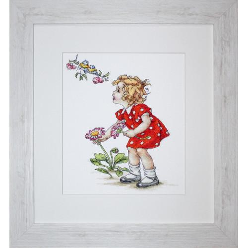 Набор для вышивки крестом Luca-S B1050 «Девочка в красном платье»