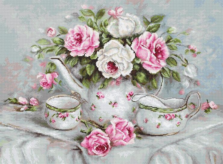 Набор для вышивки крестом Luca-S BA2317 «Чайный сервиз и розы»