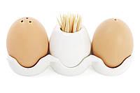 Набор для специй Яйцо: солонка, перечница и подставка для зубочисток на подставке BonaDi 289-289