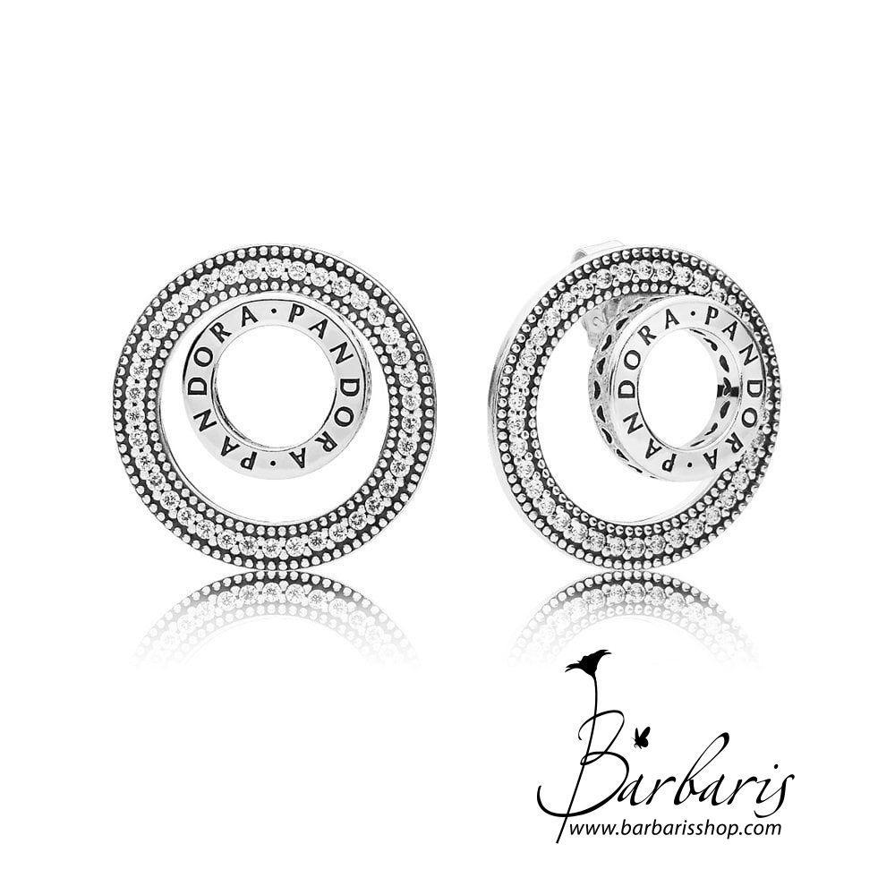 Серебряные серьги-пусеты «Навсегда» копия Pandora