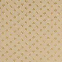 Хлопковая ткань Золотые звездочки на бежевом