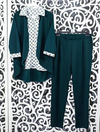 "Женский костюм-двойка блуза с имитацией жакета и брючки  ""Креп-Дайвинг"" 48,  52, 54 размер батал, фото 2"