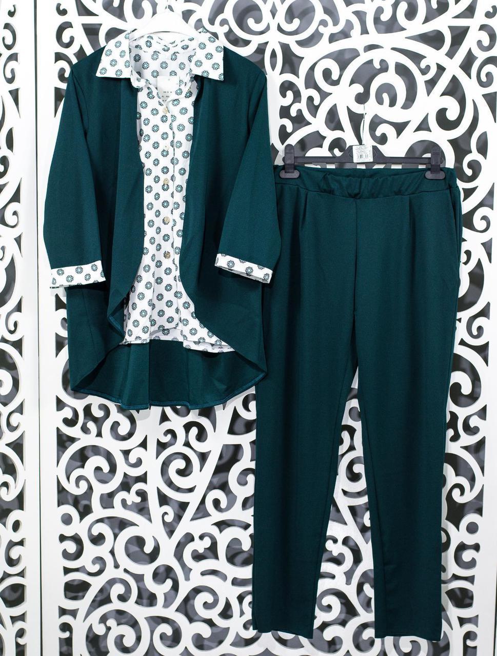 "Женский костюм-двойка блуза с имитацией жакета и брючки  ""Креп-Дайвинг"" 48,  52, 54 размер батал"
