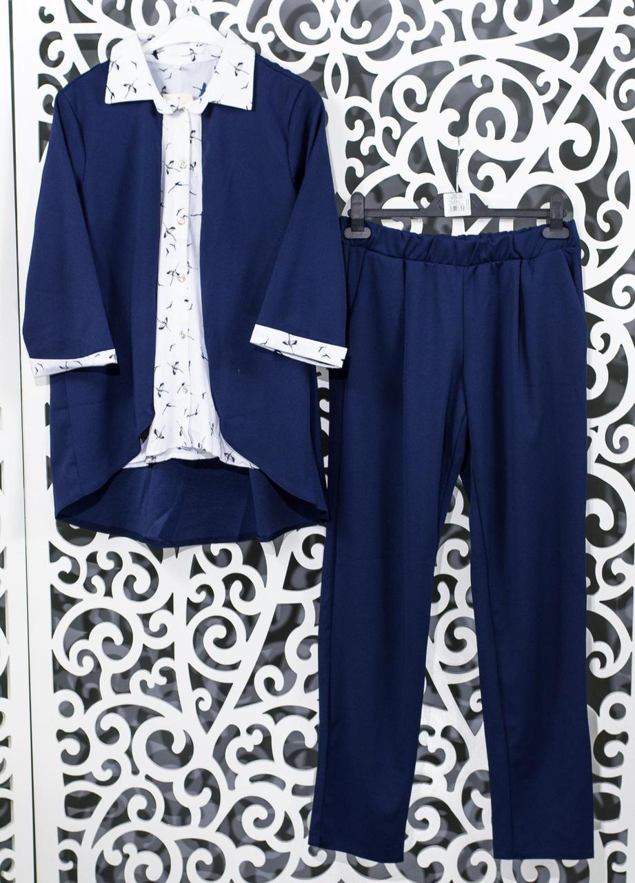 "Женский костюм-двойка темно-синий блуза с имитацией жакета и брючки  ""Креп-Дайвинг"" 48, 50, 52,54 размер батал"