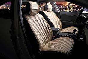 Накидки на сиденья - велюр с экокожей - Premium - Бежевые 2 шт.