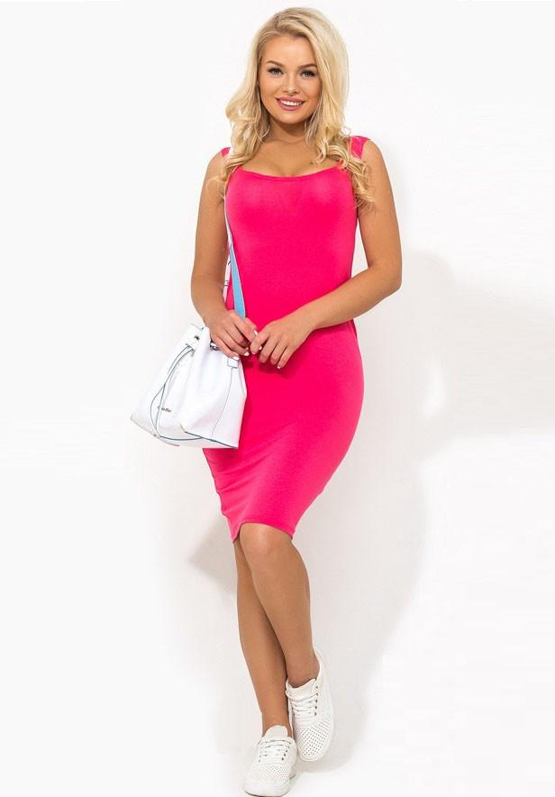 Летнее облегающее розовое платье Д-1459