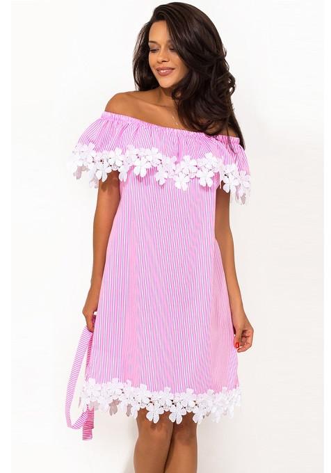 Летнее хлопковое платье с открытыми плечами Д-1450