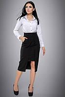 Деловая черная юбка с вышивкой Л-198