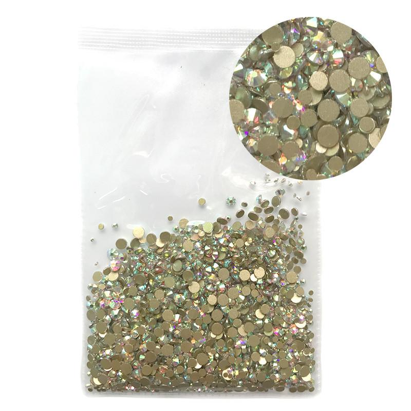 Стразы стеклянные микс размеров, 1000 шт. от SS3 до SS16 Gold Bottom AB