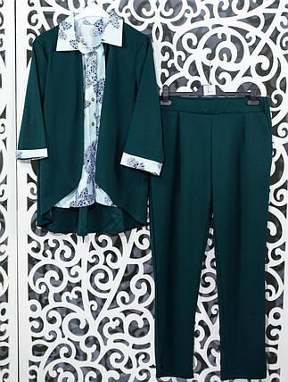 "Женский костюм-двойка r блуза с имитацией жакета и брючки  ""Креп-Дайвинг"" 48, 50, 52, 54 размер батал, фото 2"