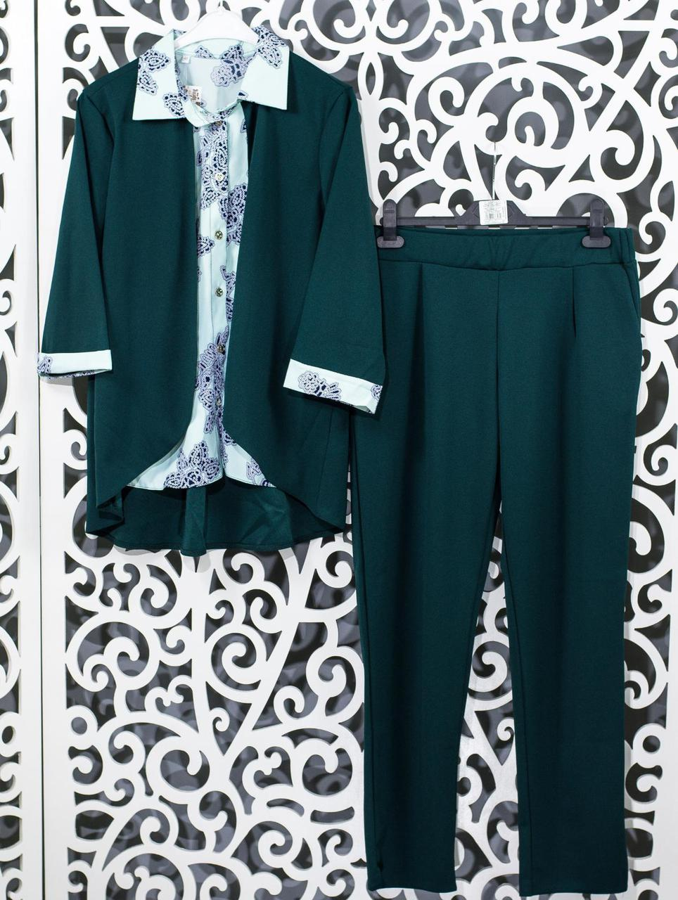 "Женский костюм-двойка r блуза с имитацией жакета и брючки  ""Креп-Дайвинг"" 48, 50, 52, 54 размер батал"