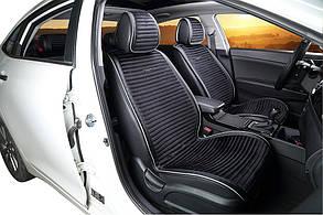Накидки на сиденья - велюр с экокожей - Premium  - Черные 2шт.