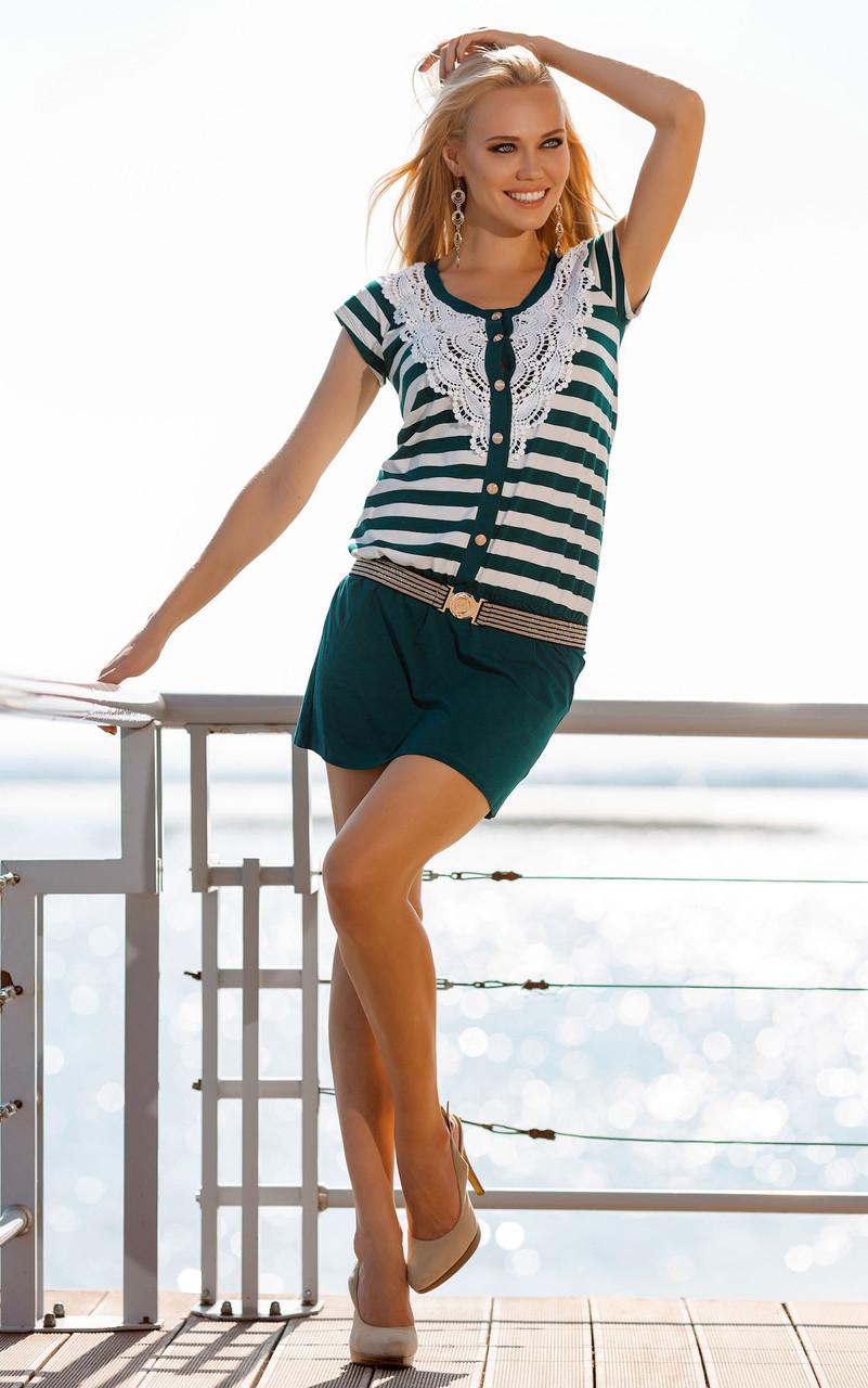 910694af61097 Летнее пляжное платье в полоску Ora 400116/3 44(M) Зеленый - Интернет