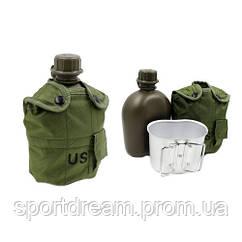 Фляга 1л с котелком в оливковом чехле TY-4834-0