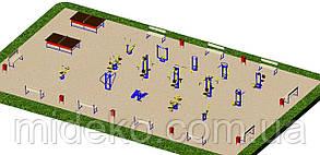 Спортивная площадка с уличными тренажерами 1729