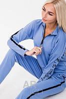 Трикотажный модный женский спортивный костюм / комплект для дома и прогулок