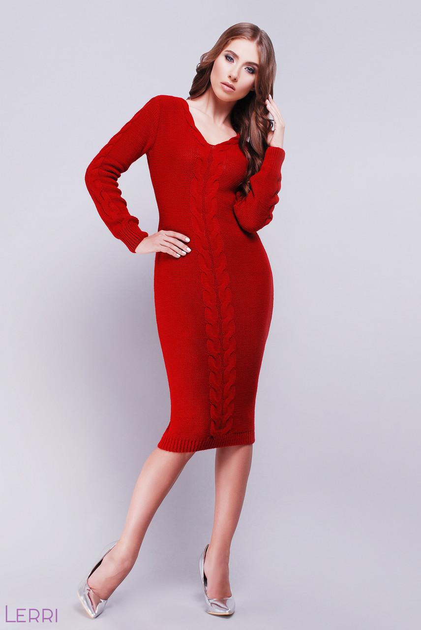 Модное вязаное платье до колен длинный рукав приталенное однотонное узор коса цвет вишня