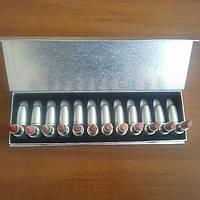 Набор помад MAC matte lipstick rouge a levres 12 помад в серебристой подарочной упаковке
