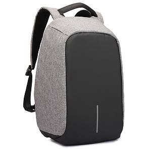 Рюкзак Bobby антивор, школьный ранец с USB выходом Серый
