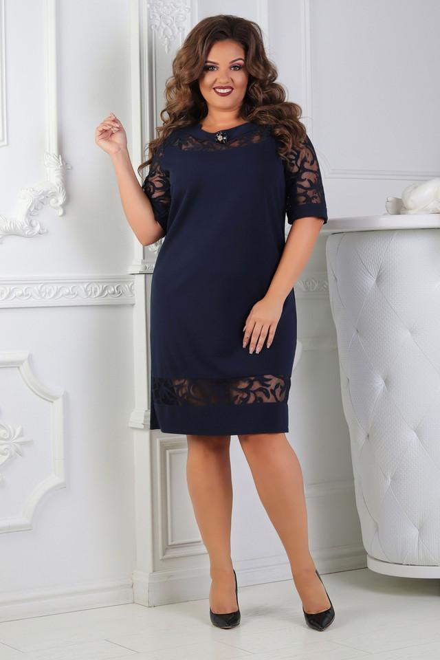 29aaae8359f58a1 Силуэтное платье со вставками из сетки. Ткань: Креп-дайвинг + сетка флок  напыление. Длина 98 см. Длина рукава 33 см. Размер: 50, 52, 54, 56