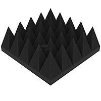 Акустический поролон «Пирамида 100» 25*25 см. звукопоглощающий. Черный графит