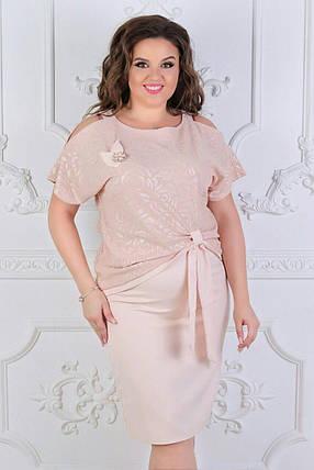 """Стильный женский костюм двойка ( блуза + юбка ) """"ткань хлопок+стрейч"""" 50 размер батал, фото 2"""