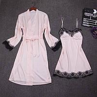 Шелковый халат и пеньюар Розовый М (42-44)