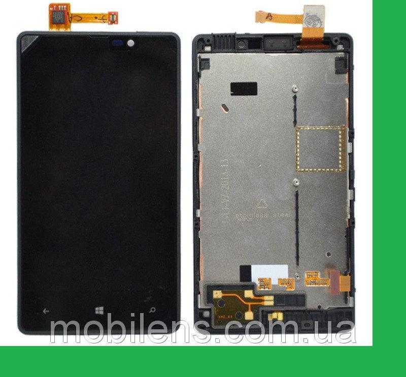 Nokia 820 Lumia Дисплей+тачскрин(сенсор) в рамке черный