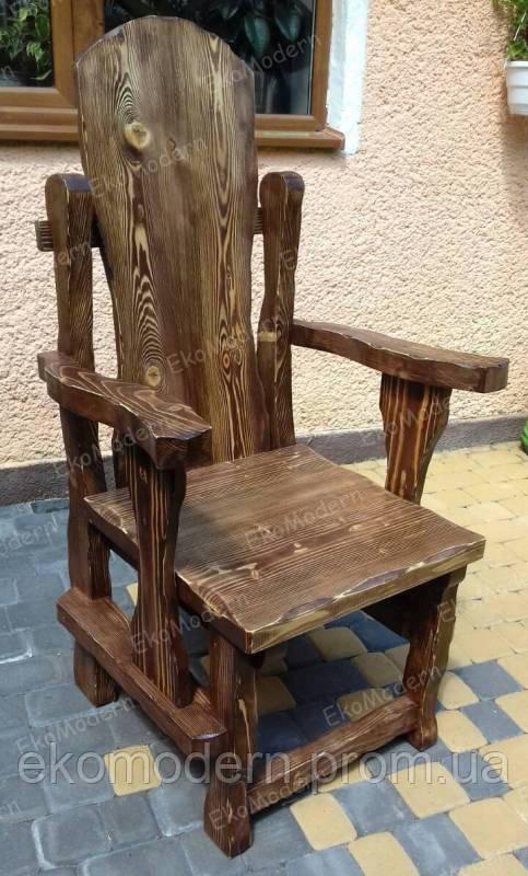 Стул-трон деревянное под старину ТРОЛЬ с высокой спинкой и подлокотниками