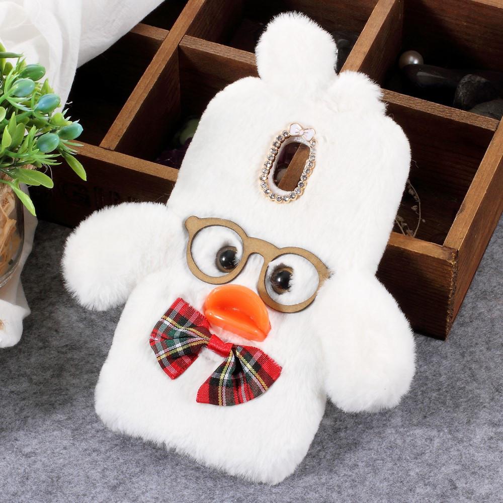 Чехол накладка 3D для Samsung Galaxy J4 2018 J400F силикон и мех, Hyaluronic Duck, белый