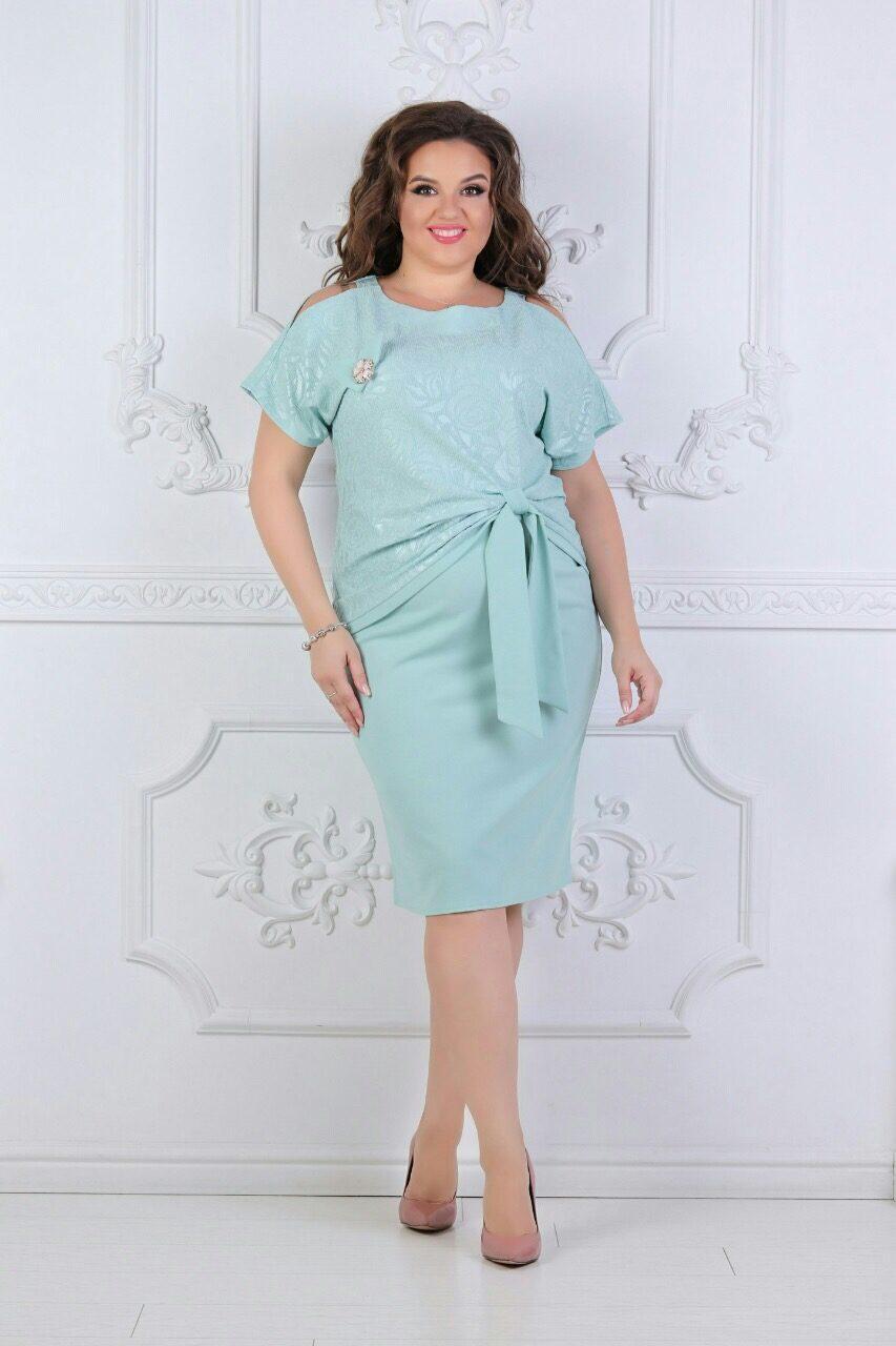 """Стильный женский костюм двойка г ( блуза + юбка ) """"ткань хлопок+стрейч"""" 50 размер батал"""