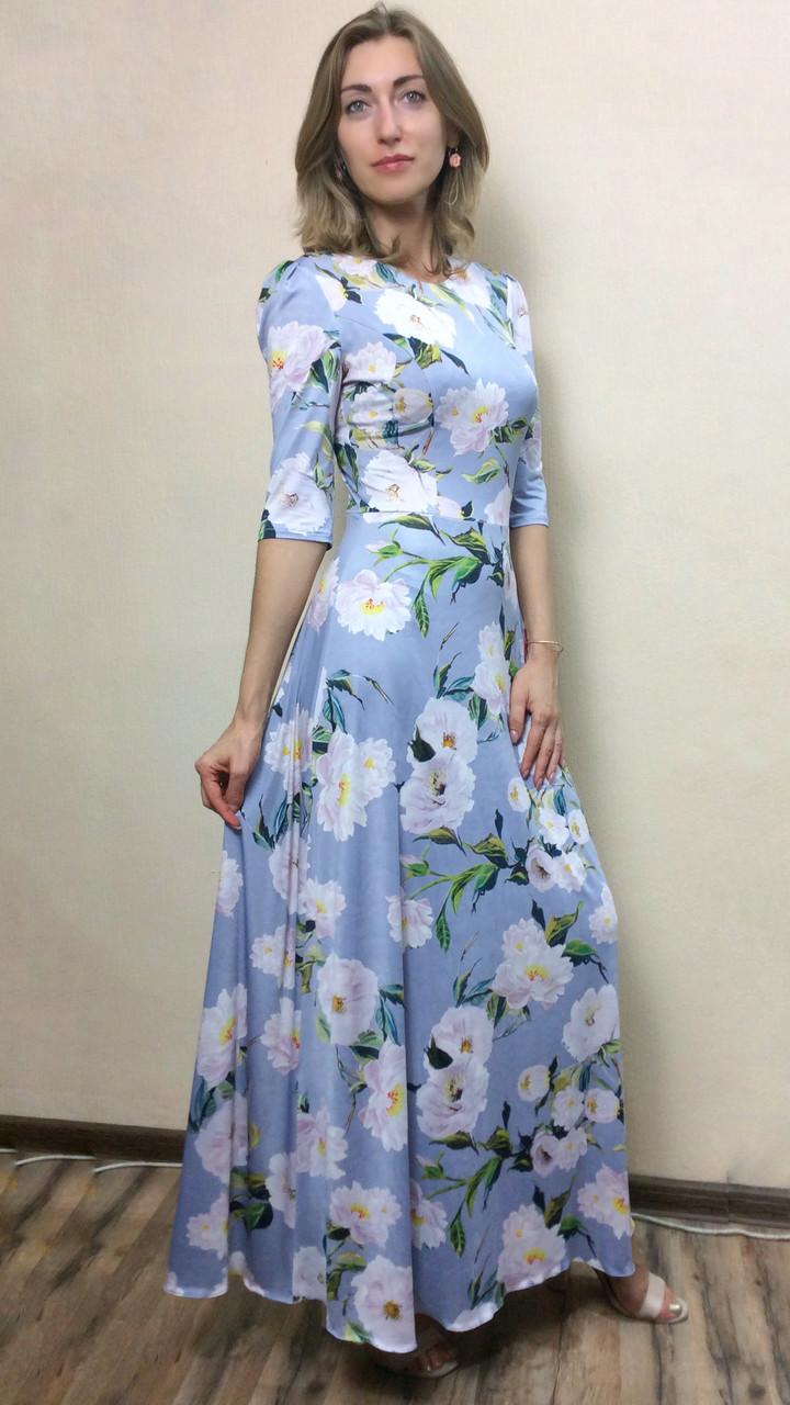 Платье в пол из масло-трикотажа П188