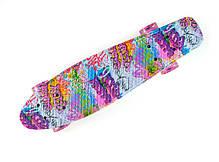 "Fish Skateboards LED Print Pink-Graffiti 22.5"" - Граффити 57 см пенни борд скейт penny, фото 3"