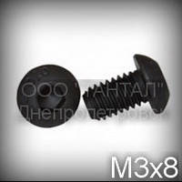Винт М3x8 10.9 ISO 7380 оксидированный с полукруглой головкой под шестигранник