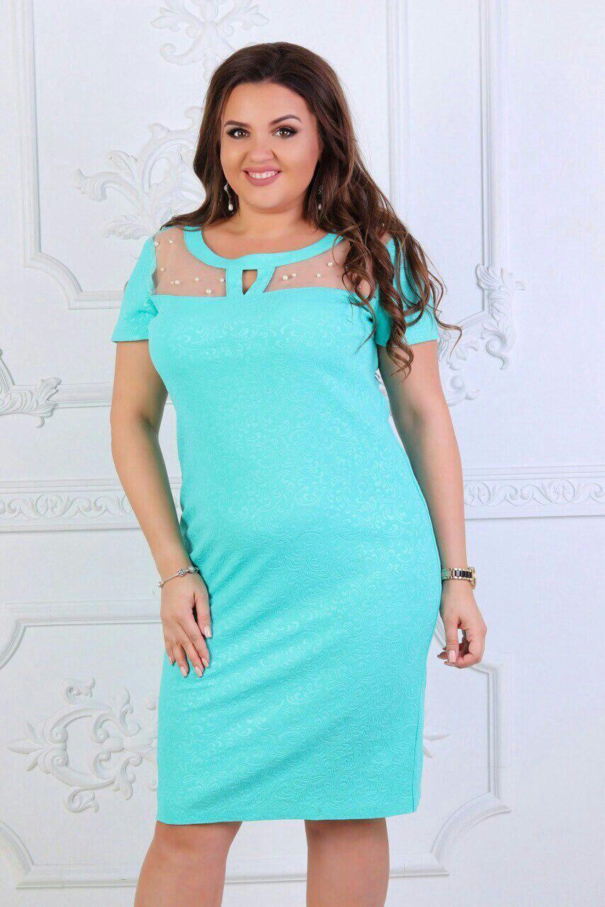"""Красивое женское платье с сеточкой на груди """" трикотажный жаккард"""" б 52, 54, 56 размер батал"""