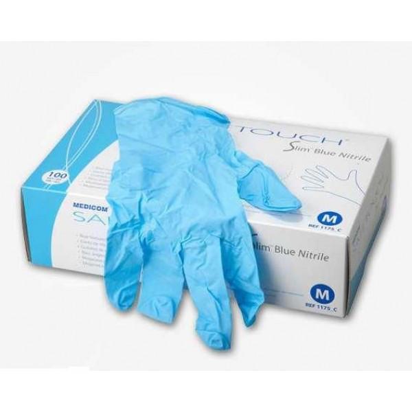 Medicom перчатки нитриловые неопудренные Safetouch Blue (100 шт.)  S