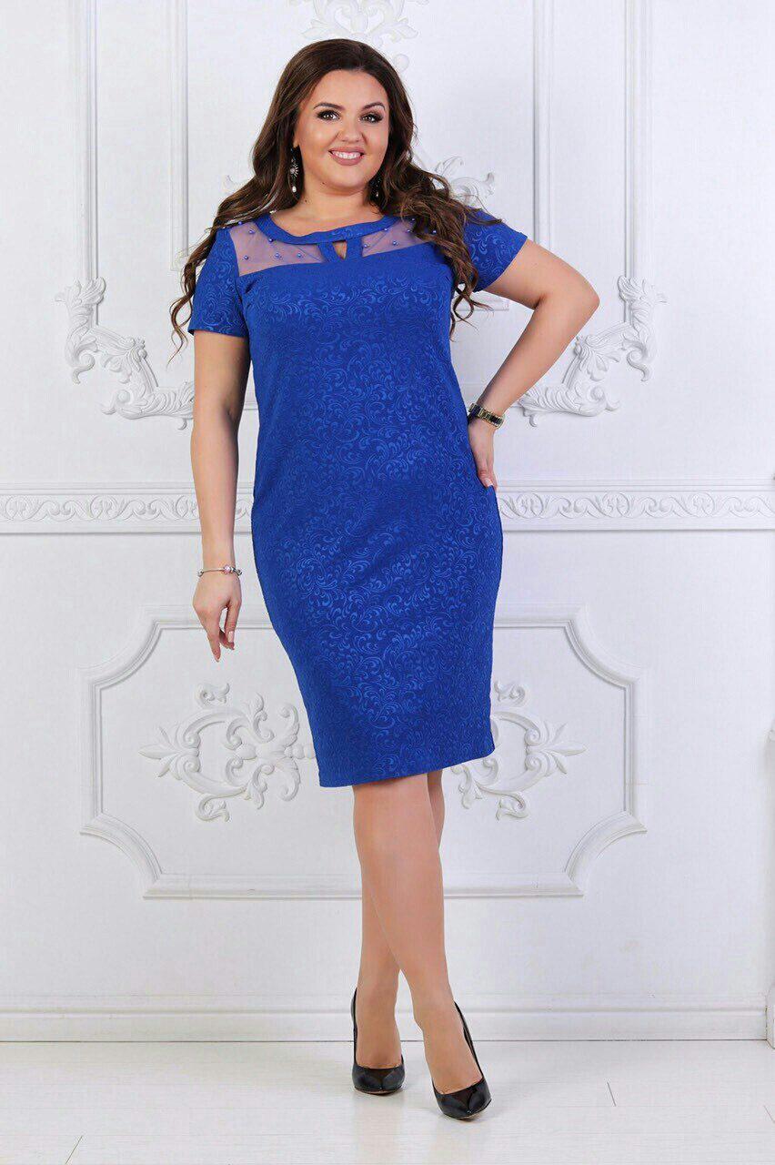 "Красивое женское платье с сеточкой на груди "" трикотажный жаккард"" электрик 48, 50, 54, 56 размер батал"