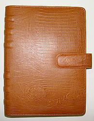 Бизнес-организатор кож./зам., крем. бумага, клетка, 14х21 см