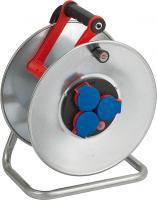 Катушка для кабеля металлическая; 3 розетки